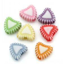 100 x Assorted Pastel Acrylic Heart Beads 7mm x 8mm Candy Plastic Bracelet Craft
