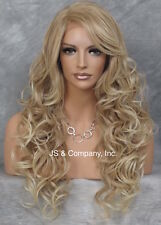 HEAT SAFE Lace Front Long Wig Wavy Realistic Blonde mix WCG 27.613