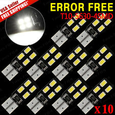 10 X Canbus Error Free White T10 Wedge 194 168 192 5630 4 SMD LED Light bulbs US