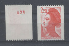 FRANCE TIMBRE ROULETTE 2379a N° rouge au verso LIBERTE rouge - LUXE **
