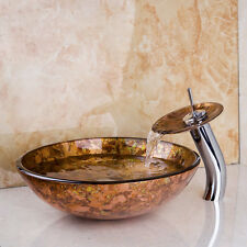New Bathroom Tempered Glass Basin Set Vessel Vanity Sink Bowl With Brass Faucet