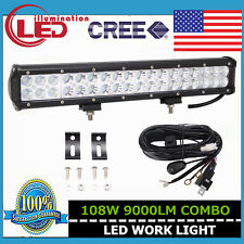 17inch 108W LED Combo CREE LIGHT Bar OFF ROAD Jeep SUV boat With Wiring kit US
