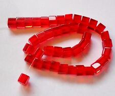 Red Glass Cube Square Shape 42 Beads 6mm
