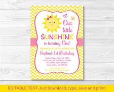 You Are My Sunshine Chevron Printable Birthday Invitation Editable PDF Any Age