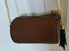 LIKE DREAMS Purse Crossbody Handbag Round Brown Black Fringe Tassle Gold Cha in