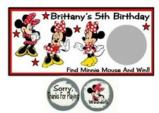 10 Minnie Mouse Red & Black Birthday Party Scratch Off Game Card Lottery Tickets