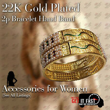 22K Gold Plated 2Pc Bracelet Bangle Indian Women Ethnic Traditional Jewelry 2*6