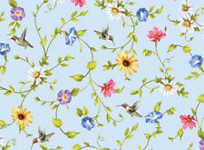 Adelee's Garden Birds Floral Cotton Fabric Fabric Red Rooster  BFab