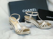 CHANEL SHOES SANDALS heels lucite heel 36 6 silver argent clair clear heel