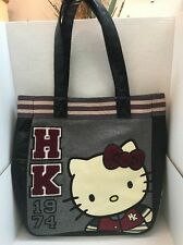 Loungefly HELLO KITTY Sanrio Gray & Burgundy Letterman Jacket Style Tote  Purse