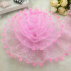 New 5 Yards 2-layer 50mm Pink Organza Lace Gathered Pleated Sequined Trim UK-4