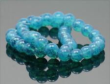 1 Strang Glasperlen opal blau marmoriert 10mm gb179