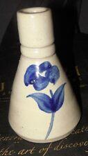 Vintage Williamsburg Pottery Salt Glaze Sm. Vase Ink Well Blue Flower