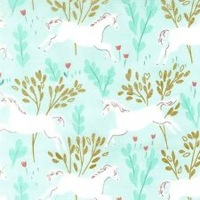 Michael Miller Sarah Jane Magic Unicorn Forest Aqua Metallic Fabric