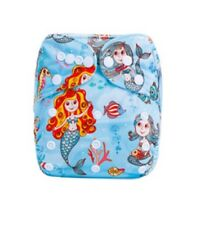 Modern Cloth Reusable Washable Baby Nappy Diaper & Insert, mermaids