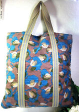 MARNI Canvas Flat Beach Tote Shoulder Bag Blue Print Italy