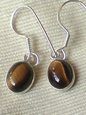 STERLING SILVER EARRINGS with10mm OVAL DROP TIGERS EYE CABOCHON STONES £9.50 NWT