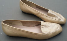 ENZO ANGIOLINI WOMENS FLATS LOAFERS GOLD LEATHER FABRIC VAMP SLIP ON SHOES 7.5 M