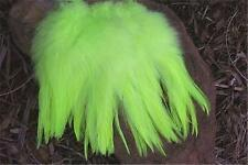 50 BRIGHT CHARTREUSE STRUNG ROOSTER SADDLE FEATHERS 5-7