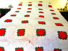 Hand Crocheted Bedspread Flower Granny Squares Red Rose Queen King Afghan