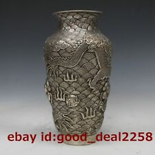 Chinese Silver Copper Carved  Dragon Vase W Qianlong Mark