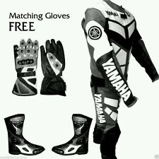 YAMAHA MOTORBIKE/MOTORCYCLE RACING LEATHER  SUIT SHOES & GLOVES.FULL PROTECTION