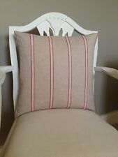 French Linen Look Pink Stripe On Beige Cotton Fabric Shabby Chic Cushion Cover