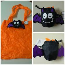 "Ganz REUSABLE TRICK OR TREAT BAG 15"" x 15"" Purple Bat Folds to 4""x 4"" With Clip"