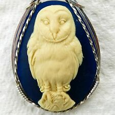 Barn Owl Cameo Pendant .925 Sterling Silver Animal Jewelry Cream Resin