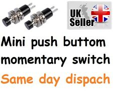 2 x pcs New Design Lockless Momentary ON/OFF Push button Black Mini Switch UK