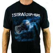 NEW STRATosphere Guitar Space Logo T SHIRT 100% Lightweight Cotton Black Large