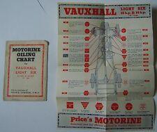 Vauxhall Luce Sei 12 & 14hp d i prezzi di tipo grafico di lubrificazione ORIGINALE + BUSTA