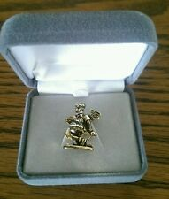Vintage Gold Tone Golfer carrying golf bag Tie Tack Brand New