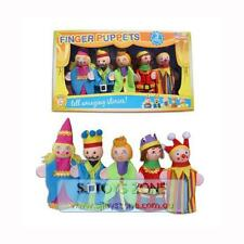 NEW Wooden Head Finger Puppets 5 Pcs Fairytale Royal King & Queen Activity Set