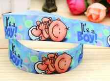 "1M 22mm 7/8"" ITS A BOY BABY SHOWER GROSGRAIN RIBBON 99p NEW BABY CAKE PARTY"