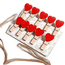 10 pcs Mini Hearts Wooden Pegs Photo Clips Craft Wedding Party Decor Xmas Gifts