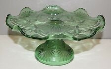 EAPG Glass Jewel Green Lily Pad Pattern Compote or Cake Stand