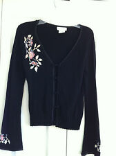 Worthington Women's Top Sweater Black Floral Embroidery Small 80% Rayon- Bamboo
