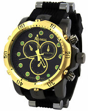Mens Gold/Black Over Sized Hip Hop Fashion Silicone Quartz Wrist watch watches R