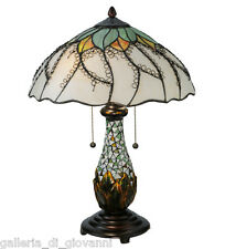 "Stained Glass Glass Table Lamp Flower Floral Tiffany Style Light 22.5""H"