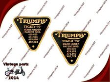2x Triumph Tiger 90 Timing Brass Black Plate Part No. 70-4016 D
