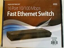 Monoprice 16-Port Unmanaged 10/100 Mbps Fast Ethernet Switch (meh160sk)