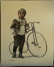 JOANNE THOMPSON Untitled BOY WITH BICYCLE VINTAGE PRINT ON CANVAS FREE SHIPPING