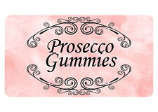 40 MINI PERSONALISED, FAVOUR,STICKERS FOR PROSECCO GUMMY SWEETS
