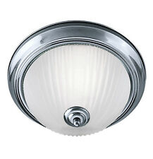 Stylish Flush Bathroom Ceiling Light With Opal Acid Glass Diffuser IP44 2 x 60W
