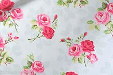 "1.3m/52"" ROUND roses nancy duck egg oilcloth wipe clean cotton pvc TABLECLOTH CO"
