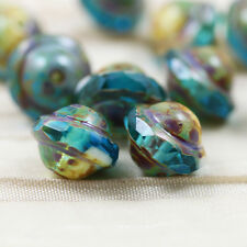 10pcs 8x10mm Saturn / UFO / Saucer Picasso Czech glass beads - Pick your color!