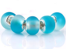 5pcs SILVER MURANO Sky Blue jelly spacer beads fit European Charm Bracelet #C936