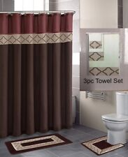 19PC BROWN DYNASTY SET BATHROOM SHOWER CURTAIN W/RINGS LINER CONTOUR MAT 3TOWEL