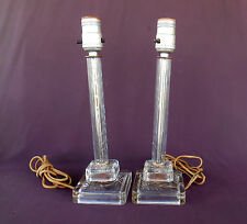 ETCHED GLASS Boudoir Lamps Vintage Bedroom Pair 12½  Inch